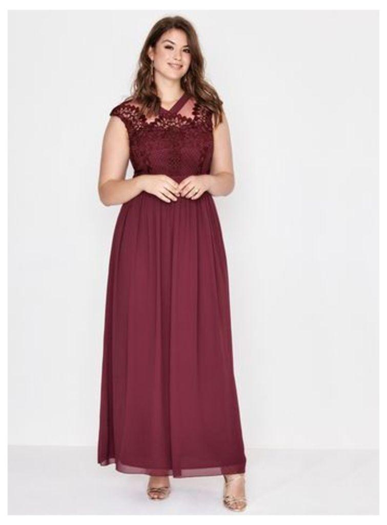 Little Mistress Red Merlot Crochet Maxi Dress, Red