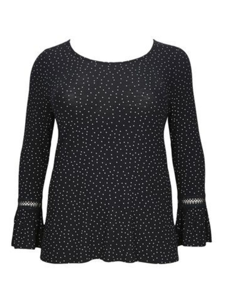 Black Spotted Lace Trim Top, Black/White