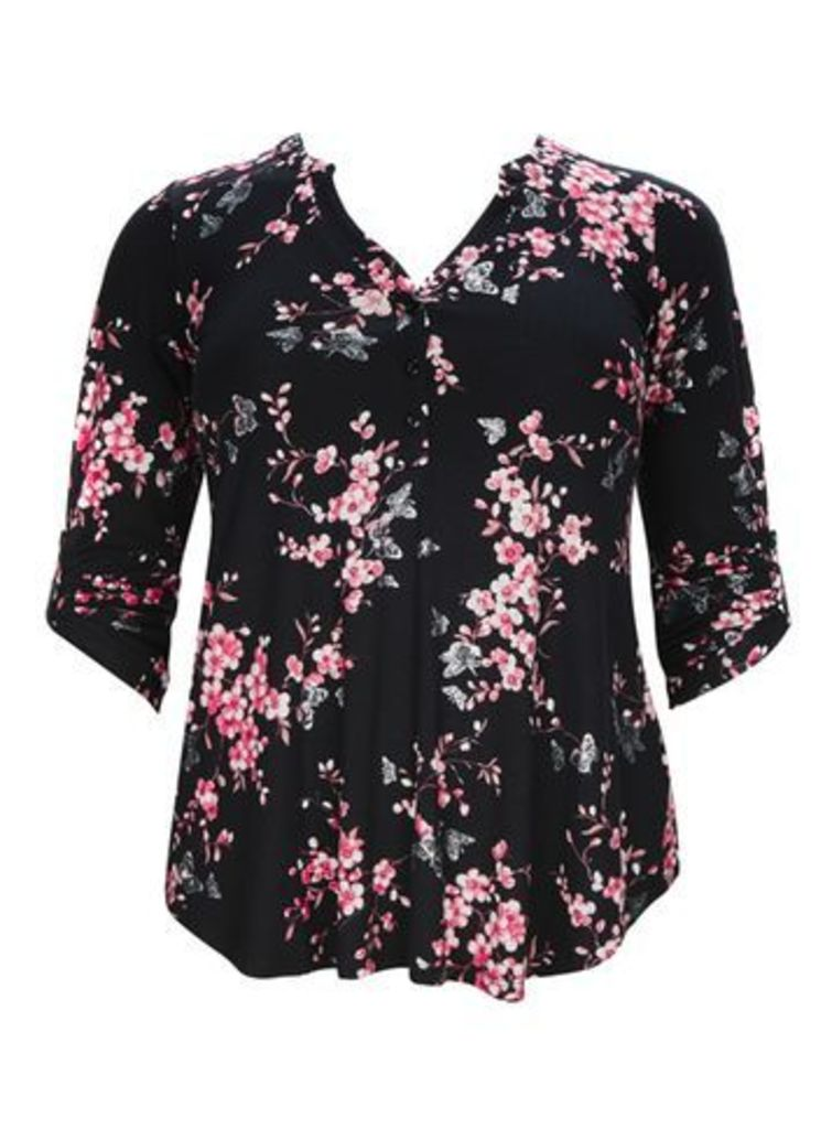Black Butterfly and Floral Print Shirt, Ivory