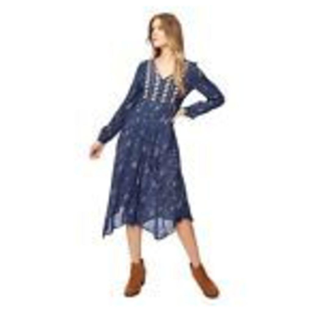 Mantaray Womens Blue Poppy Print V-Neck Long Sleeve Midi Dress From Debenhams