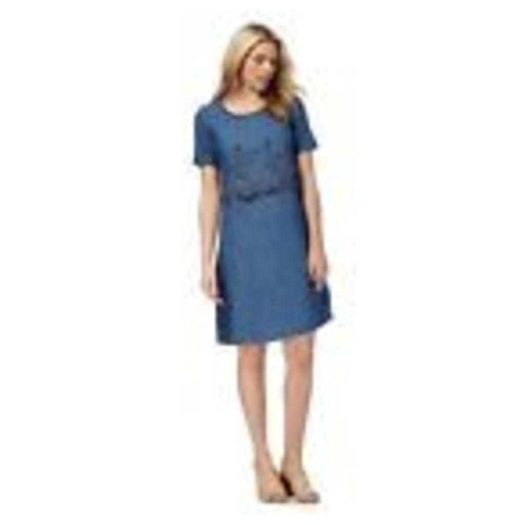 Rjr.John Rocha Womens Blue Floral Embroidered Knee Length Shift Dress 24