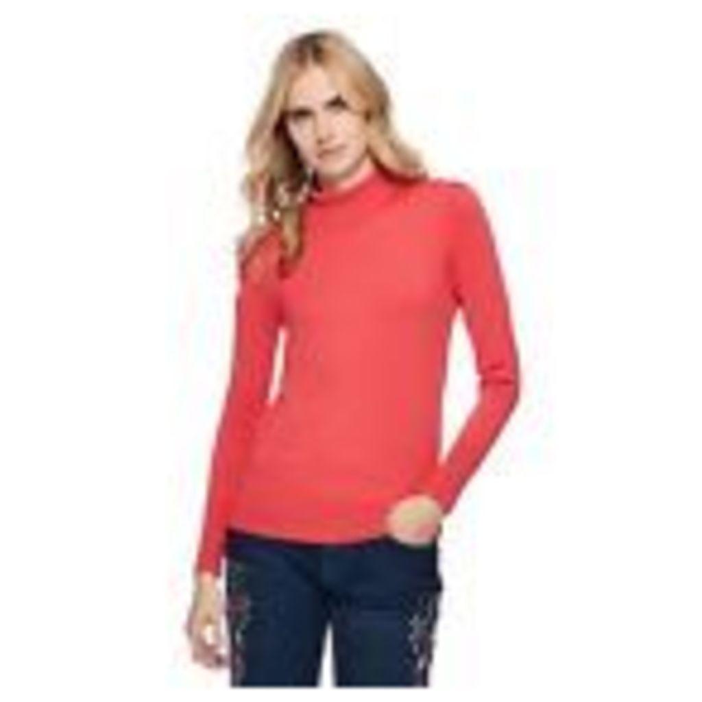 Red Herring Womens Peach Roll Neck Frill Shoulder Jumper From Debenhams