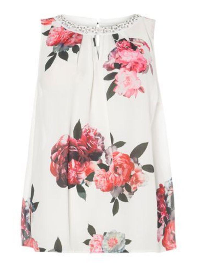 Multi Coloured Floral Print Embellished Top, Dark Multi