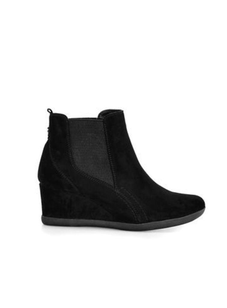 Black Elastic Wedge Ankle Boots, Black