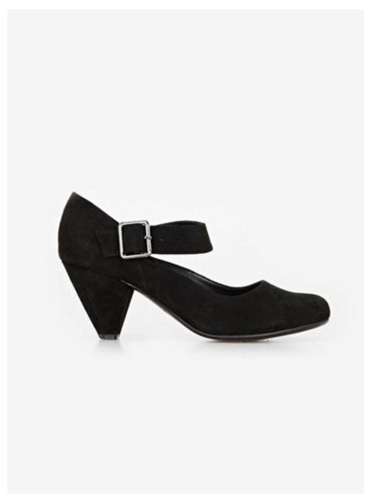 Black Cone Heel Shoes, Black