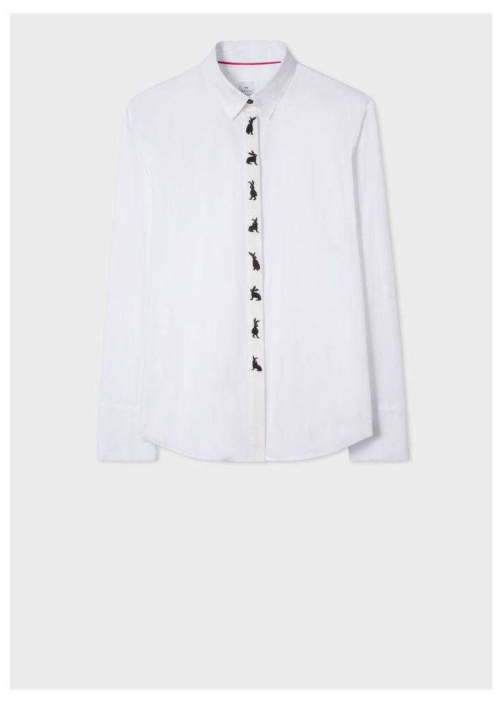 Women's White Rabbit-Placket Cotton-Blend Shirt