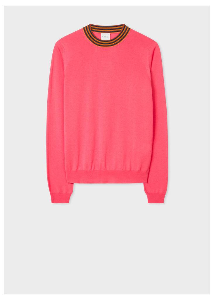 Women's Bright Pink Wool Sweater With 'Artist Stripe' Collar