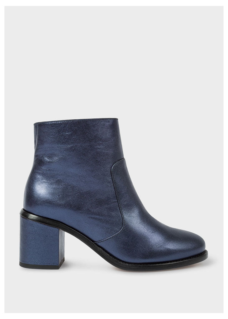 Women's Metallic Navy Leather 'Luna' Boots