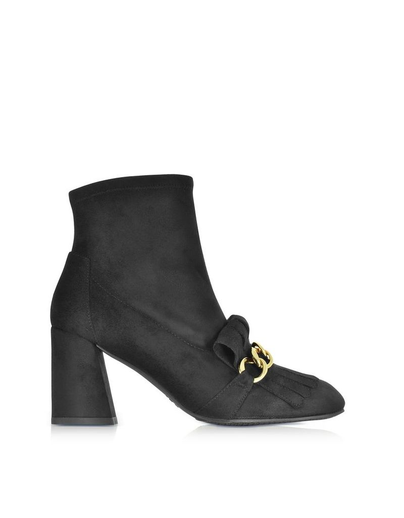 Stuart Weitzman Shoes, Ringleader Black Ultra Stretch Suede Heel Boots w/Fringes and Golden Chain