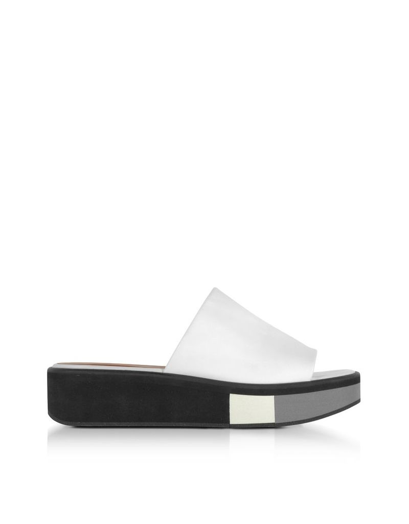 Robert Clergerie Shoes, Quenor White Leather Flatform Sandals