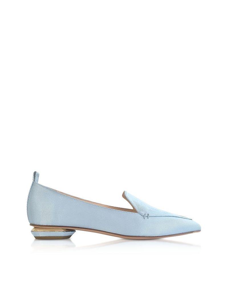 Nicholas Kirkwood Shoes, Platinum Blue Satin Beya Loafers
