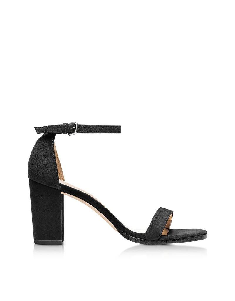 Stuart Weitzman Shoes, Nearlynude Black Suede Heel Sandals