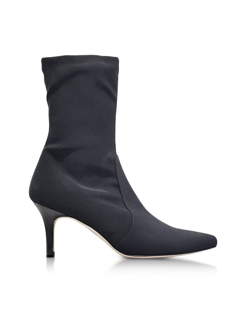 Stuart Weitzman Shoes, Axiom Black Micro Stretch Fabric Pointed Toe Heel Booties