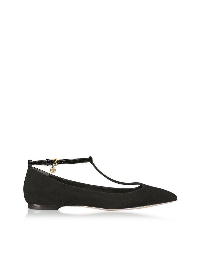 Tory Burch Shoes, Black Suede Ashton T-Strap Flat Ballerina