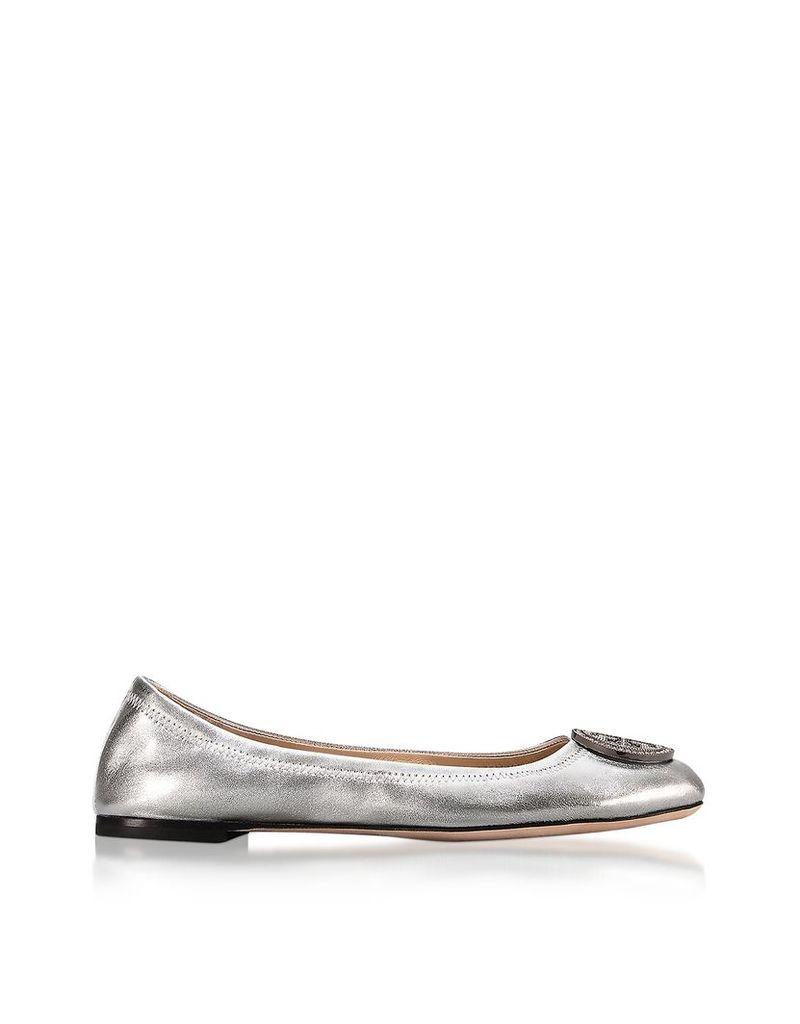 Tory Burch Shoes, Liana Silver Metallic Leather Ballet Flats