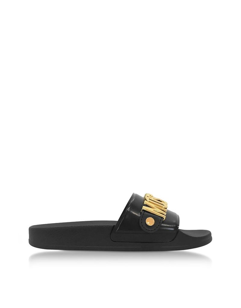 Moschino Shoes, Black Pool Slider Sandals w/Golden Metal Signature Logo