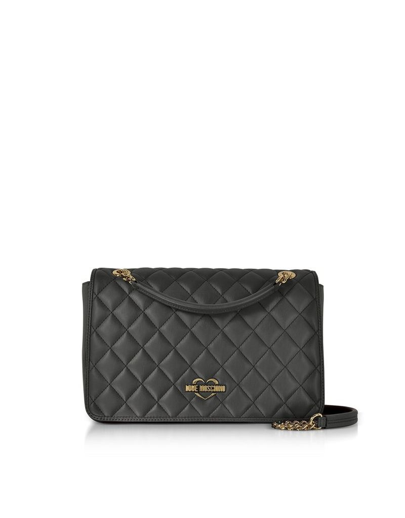 Love Moschino Handbags, Black Superquilted Eco-Leather Shoulder Bag