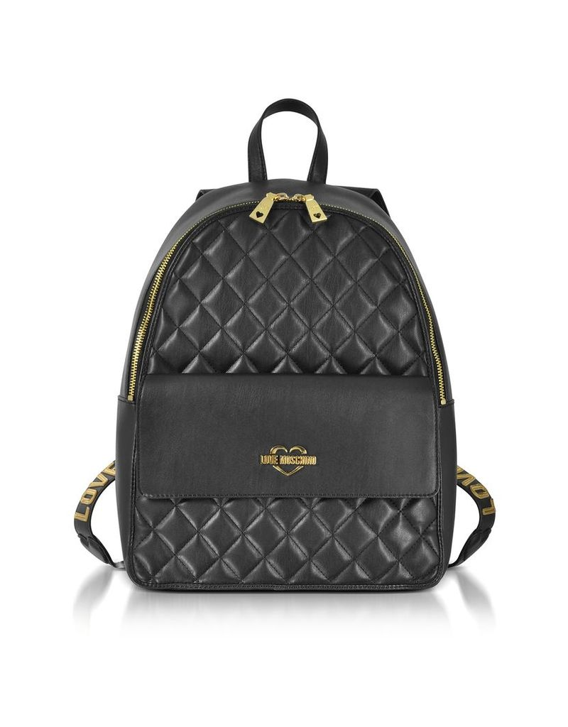 Love Moschino Handbags, Black Superquilted Eco-Leather Backpack