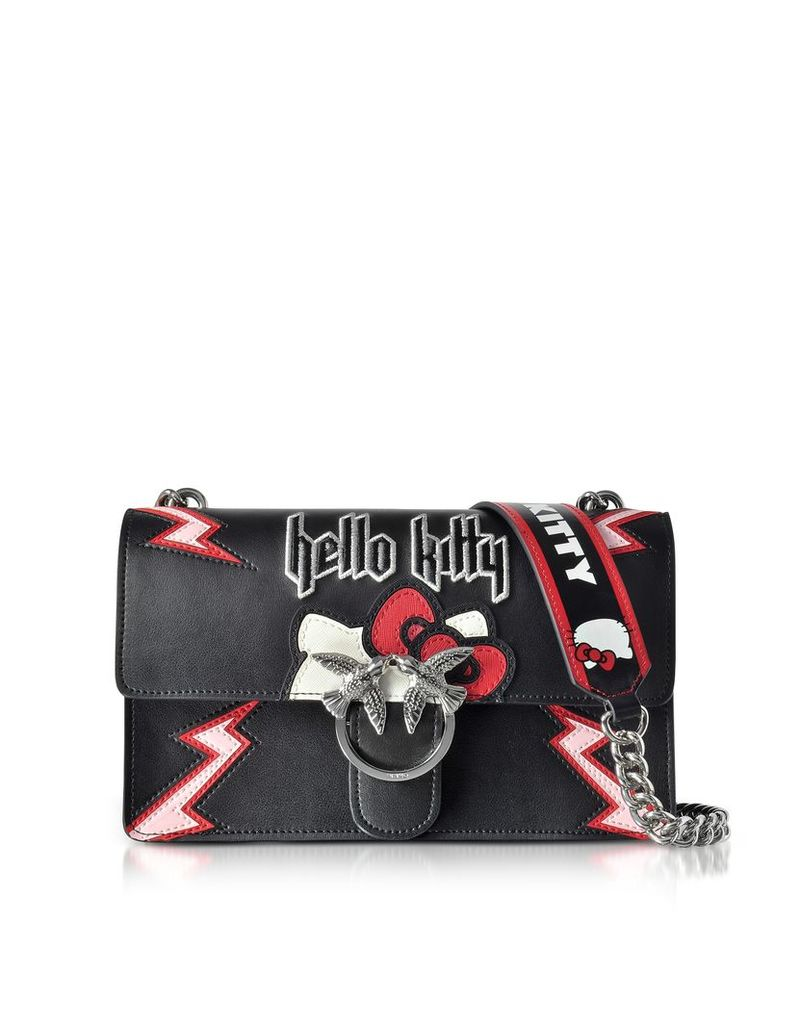 Pinko Handbags, Love Hello Kitty Rock Black Eco Leather Shoulder Bag