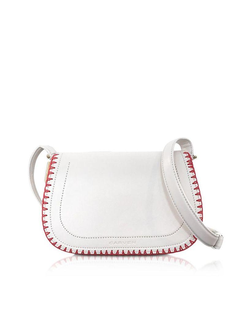 Carven Handbags, Mazarine Ivory Leather Crossbody Bag