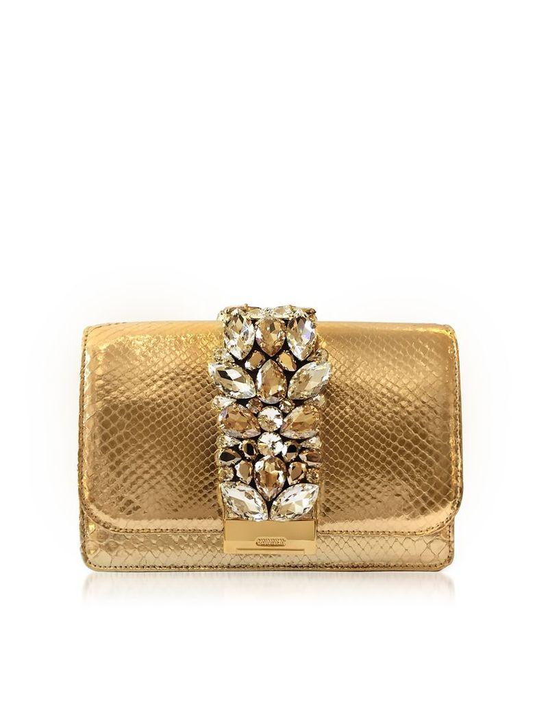 Gedebe Handbags, Cliky Gold Python Clutch w/Crystals
