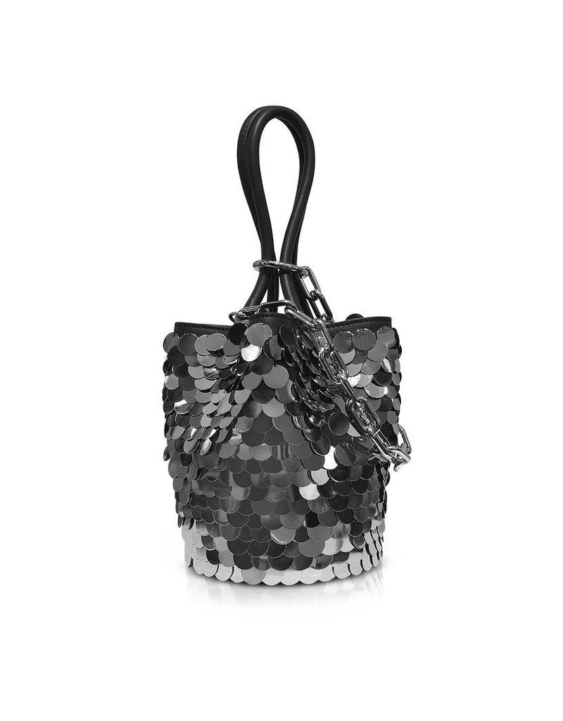 Alexander Wang Handbags, Roxy Mini Black Smooth Leather Bucket Bag w/Shiny Paillettes