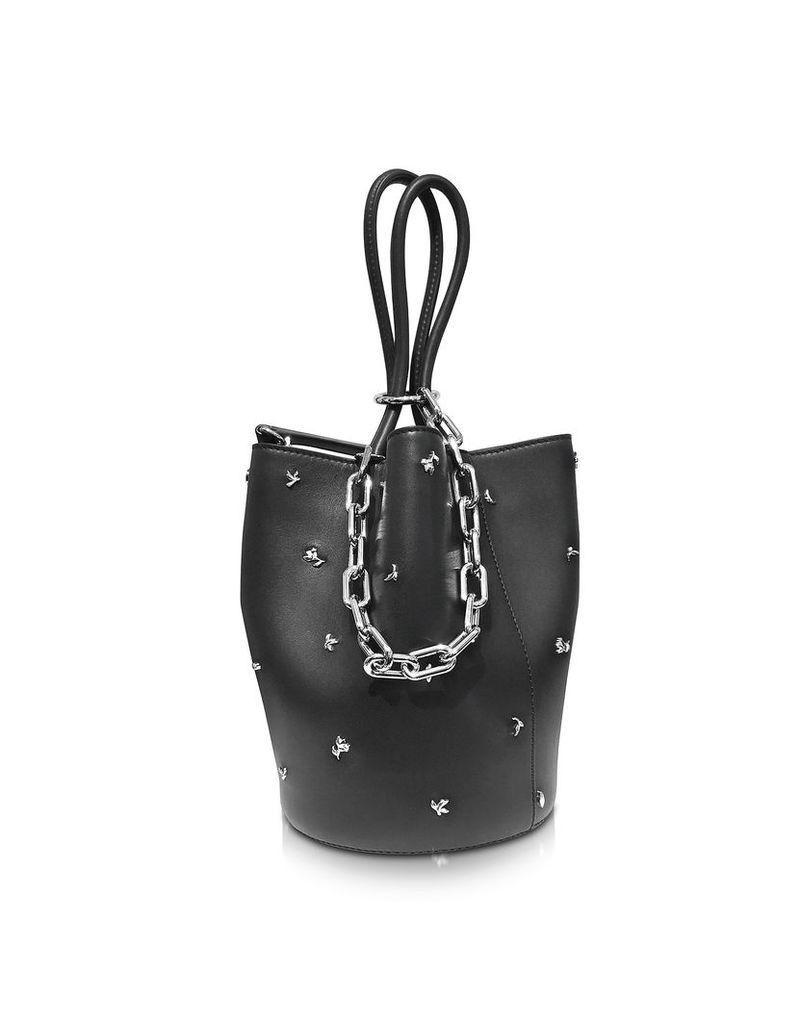 Alexander Wang Handbags, Roxy Black Smooth Shiny Leather Bucket Bag w/Studs