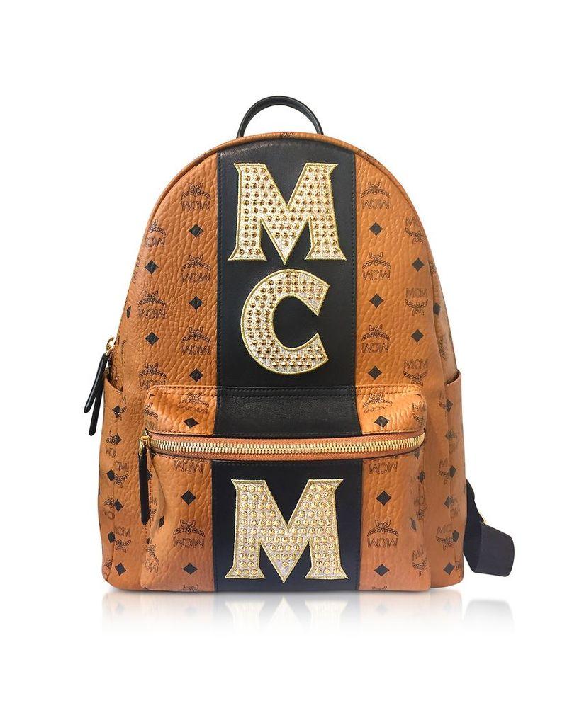 MCM Handbags, Cognac Stark Stripe Studded Medium Backpack