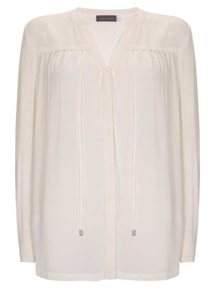 Ivory Ruched Tie Front Blouse
