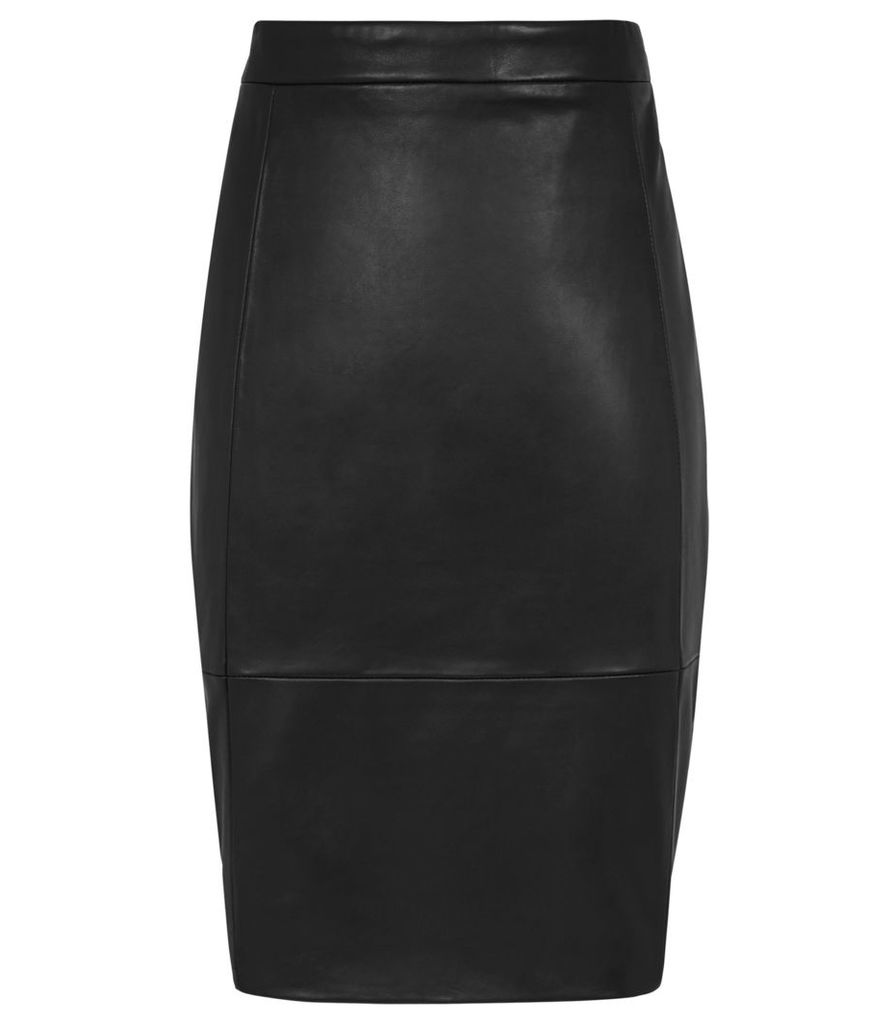 Reiss Olivia - Leather Pencil Skirt in Black, Womens, Size 4
