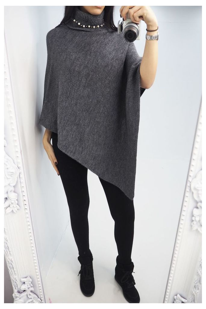 Kaylisa Roll Neck Pearl Knitted Poncho