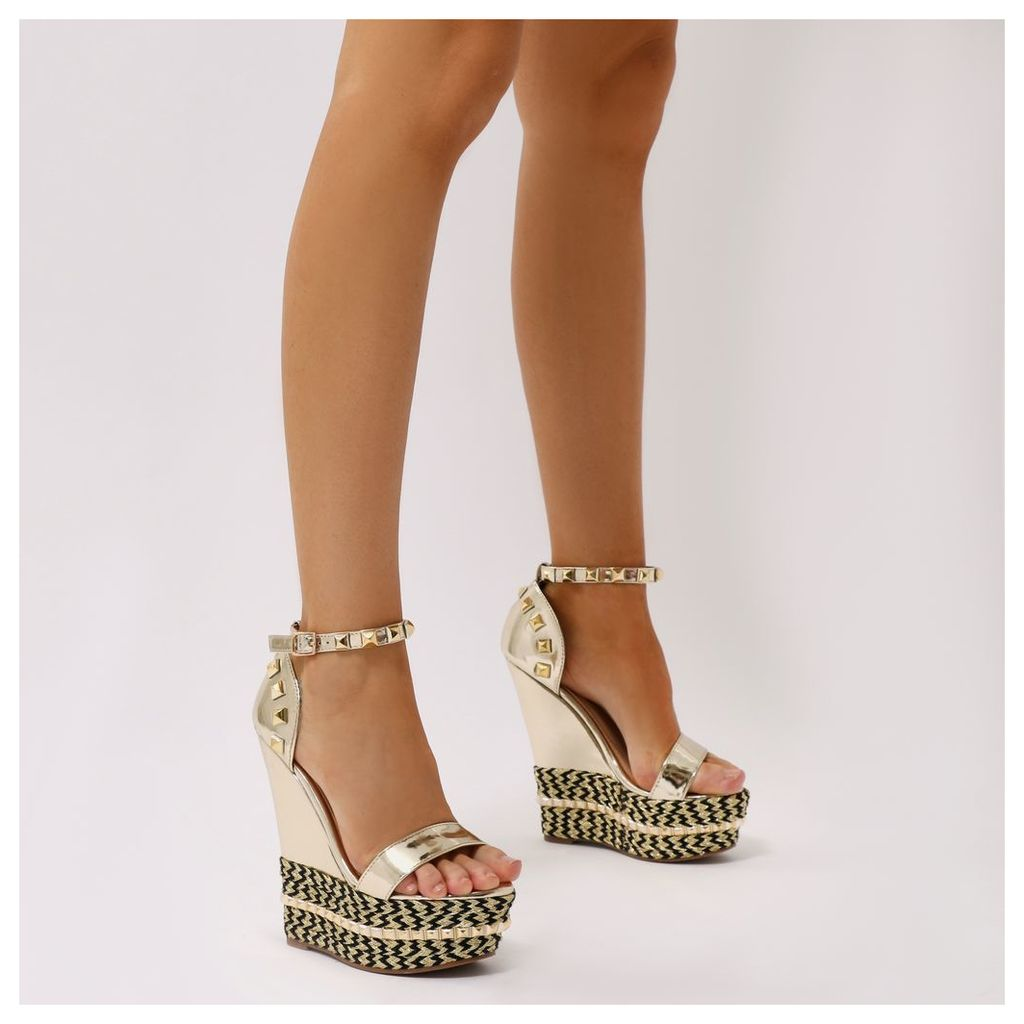 Stacey Braided Studded Wedges in Metallic, Gold