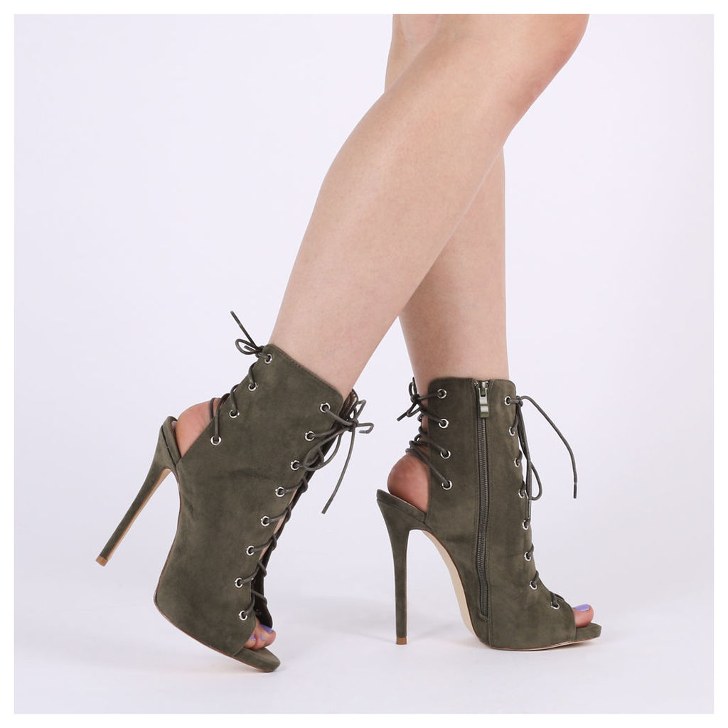 Melina Stiletto Ankle Boots in Khaki Faux Suede, Brown