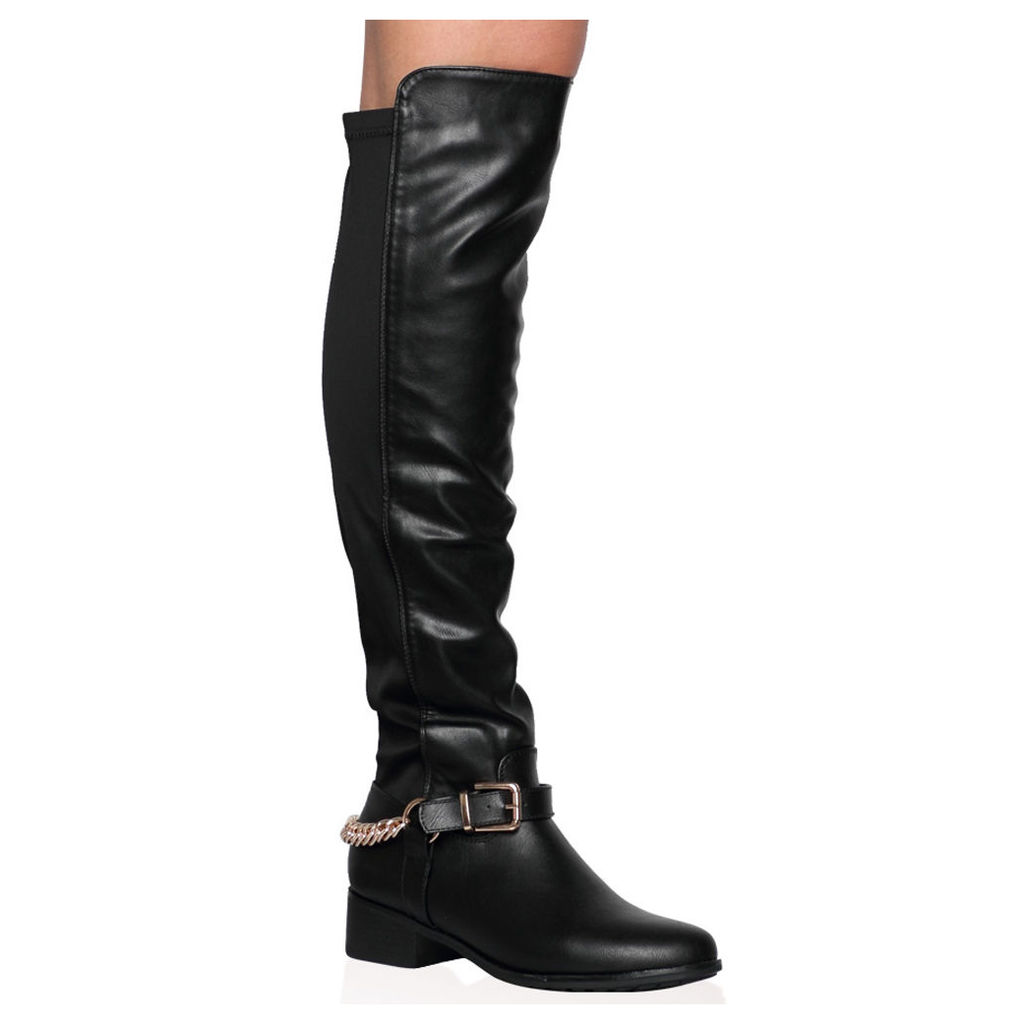 Karina Knee Length Boots, Black