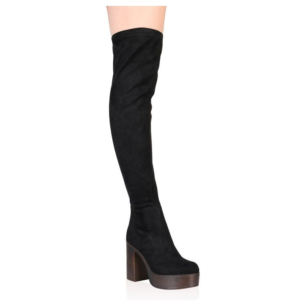 Patricia Over the Knee Boots  Faux Suede, Black
