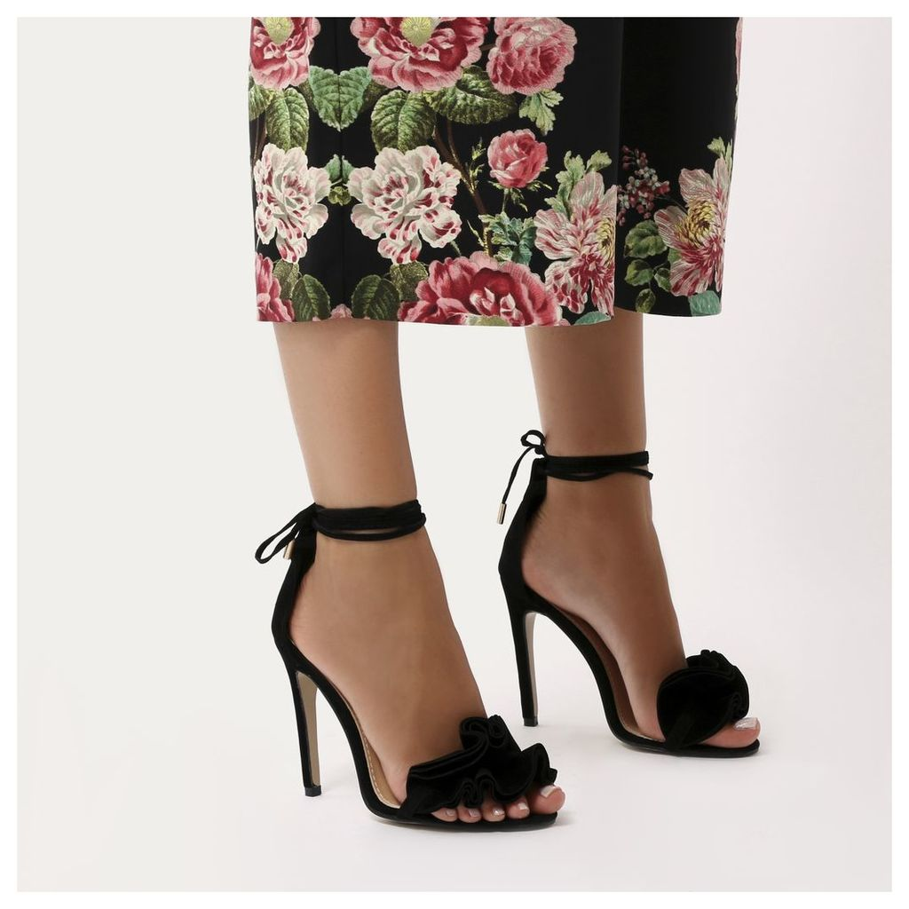 Sugar Ruffle Lace Up Barely There Heels  Faux Suede, Black