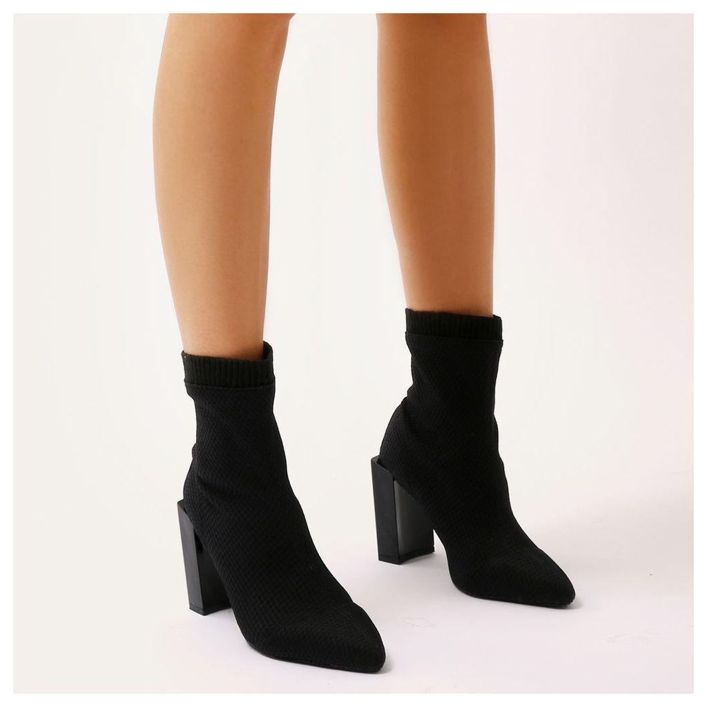 Nicky Fishnet Flat Block Heel Sock Fit Ankle Boots, Black