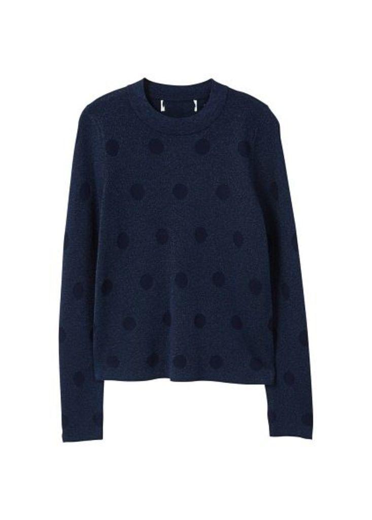 Polka-dot metallic sweater