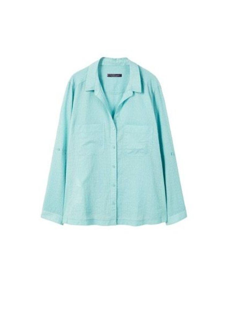 Texture pin stripes blouse