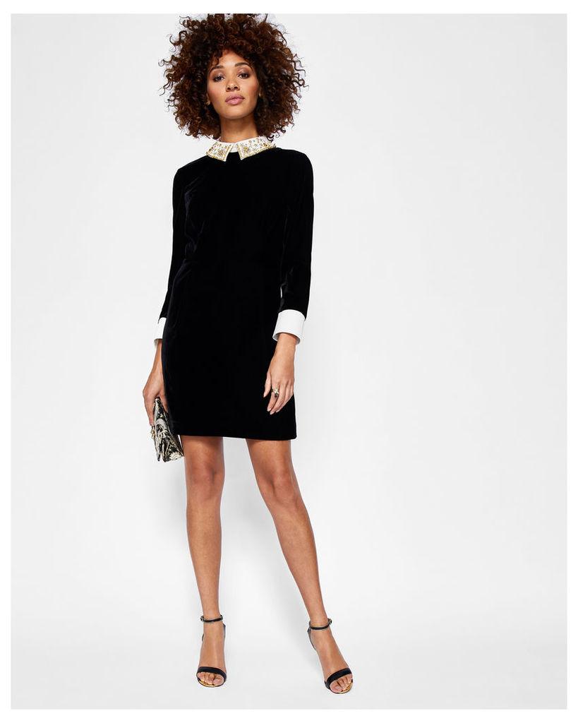 Ted Baker Embellished collar velvet dress Black