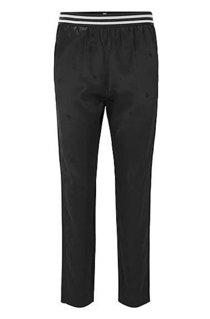 Regular-fit satin trousers with jacquard pattern