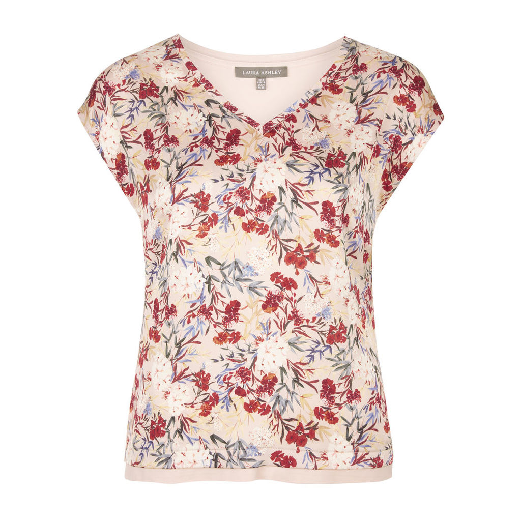 VNeck Woven Front Floral Print Top