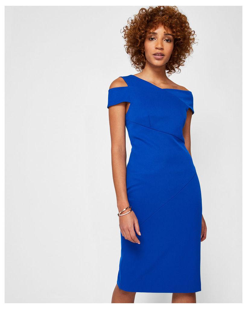 Ted Baker ASYMMETRIC BODY CON DRESS Mid Blue