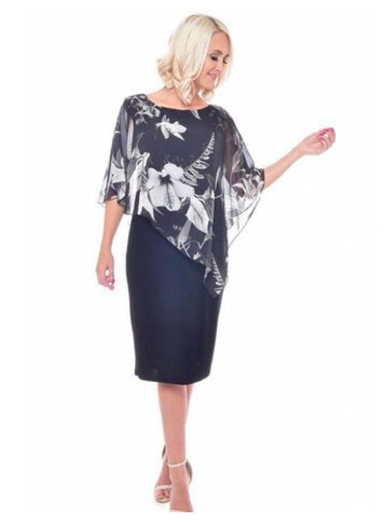 Grace Black Chiffon Overlay Shift Dress, Black