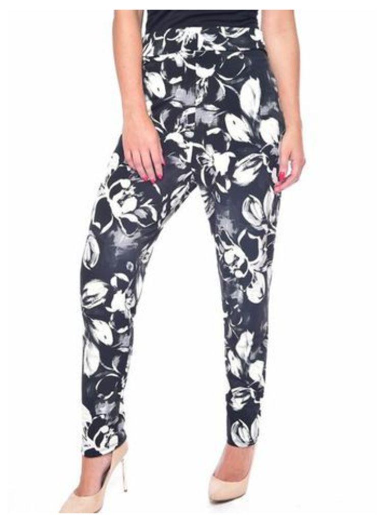 Grace Black Floral Print Trousers, Black