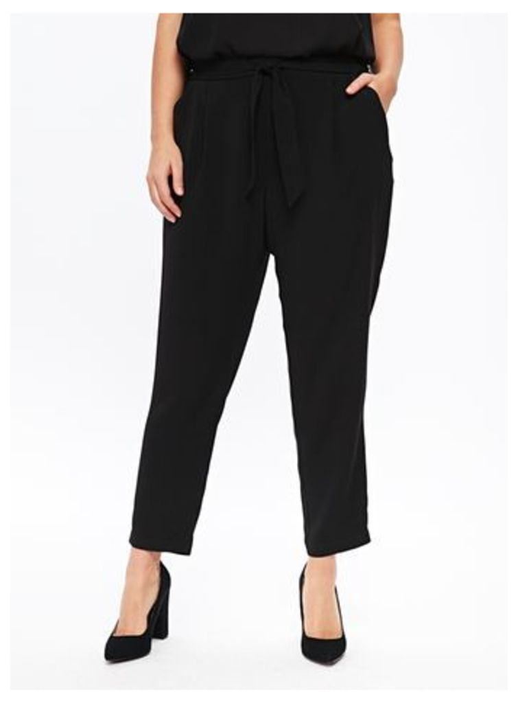 Black Tie Front Tapered Trouser, Black