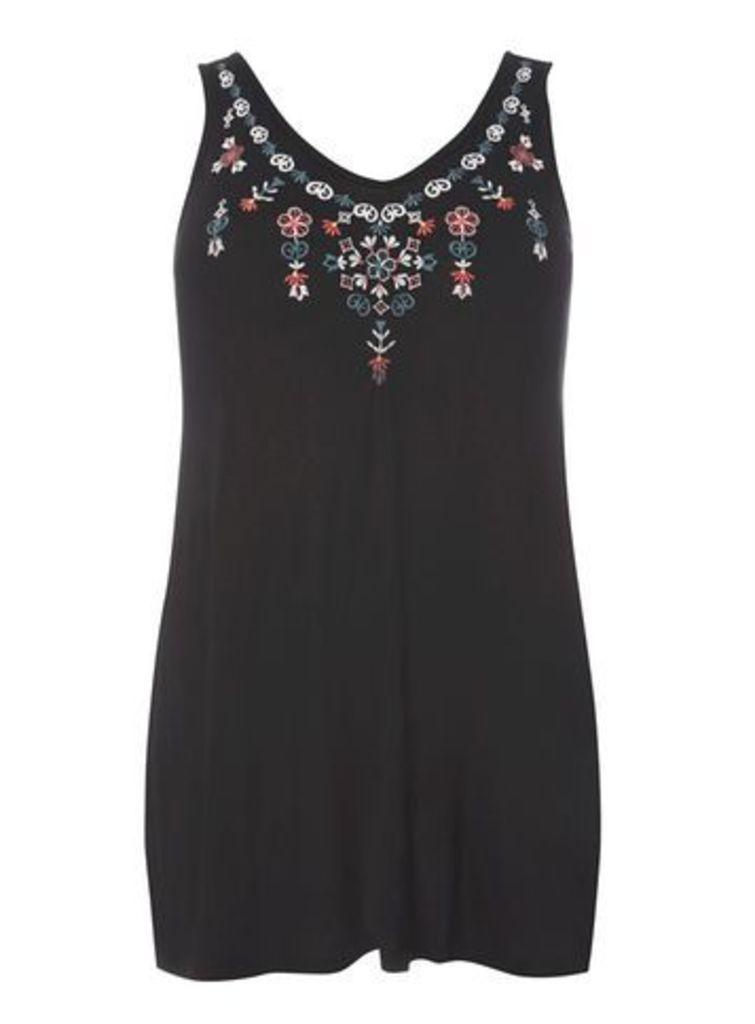 Black Embroidered Vest, Black