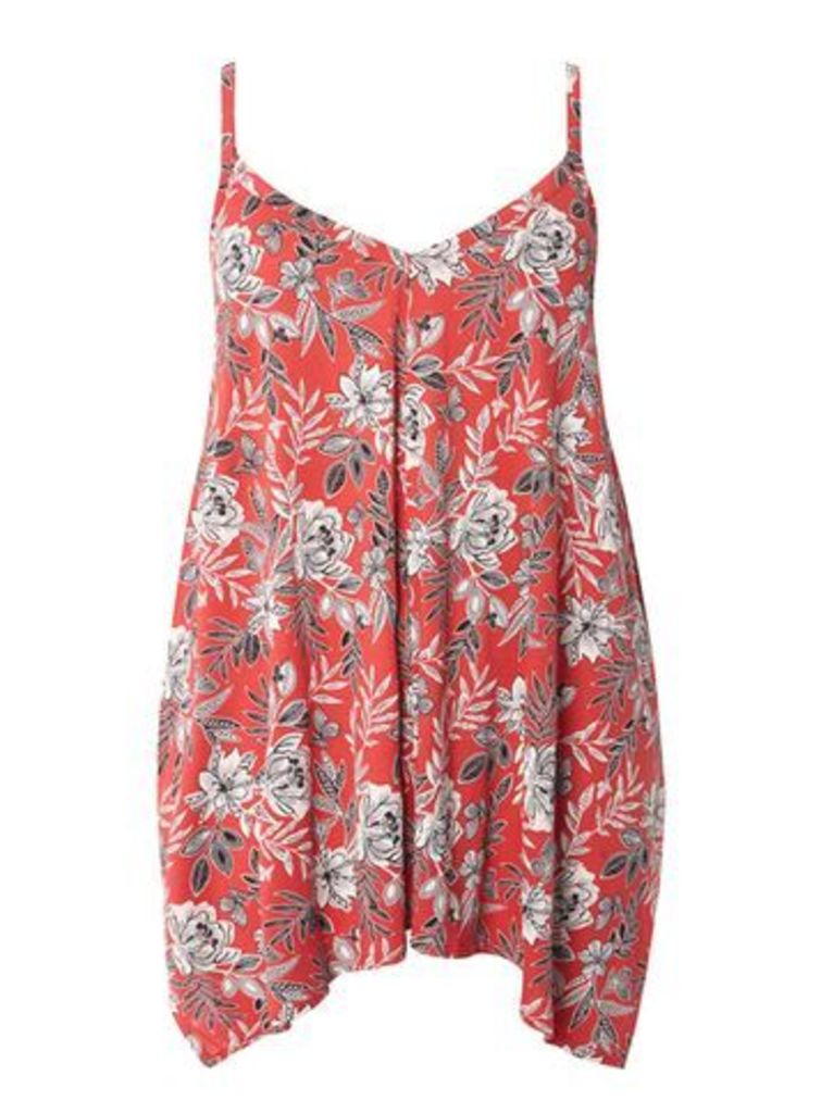 Red Floral Print Camisole Top, Red
