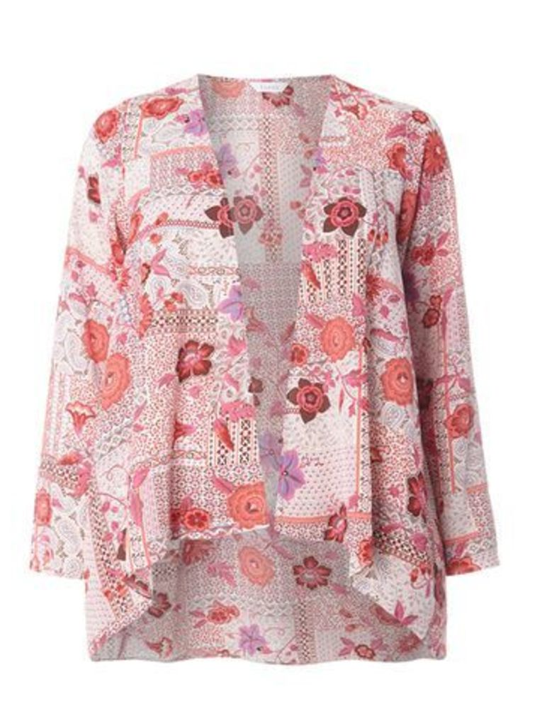 Purple And Pink Patchwork Kimono, Dark Multi