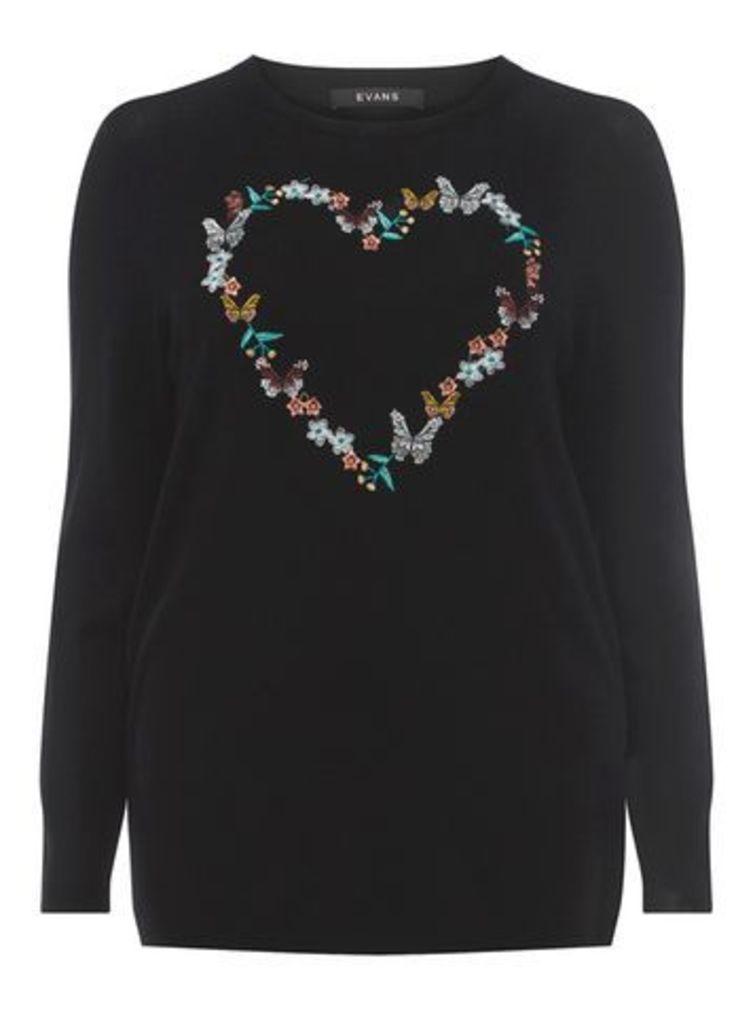 Black Embroidered Heart Jumper, Black